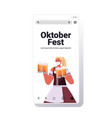 woman holding beer mugs oktoberfest party festival vector image vector image