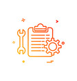 wrench setting gear check list icon design vector image