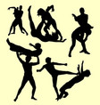 wrestling fight sport silhouette vector image vector image