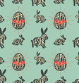 seamless pattern with easter rabbits vector image