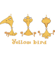 A set of yellow birdies cartoon vector image