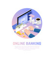 Accounting online banking isometric composition