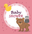 baby shower card with cute bear and owl vector image vector image