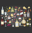 big hand drawn different alcohol bottles and vector image