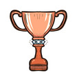 bronze trophy cup of the victory team isolated vector image vector image
