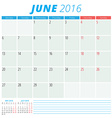 Calendar 2016 flat design template June Week vector image vector image