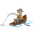 cartoon man fishing in boat vector image vector image
