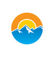 circle mountain hiking logo vector image vector image