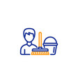 cleaning service line icon bucket with mop vector image