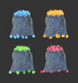 cloth fabric money bag full of various diamonds vector image vector image