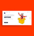 clown character pop up from huge box landing page vector image