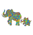 colorful hand drawn zentagle of an elephant and vector image