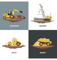 Construction Machinery 4 Flat Icons Square vector image vector image