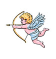 cupid aiming a bow and arrow in cartoon style vector image vector image