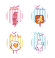 cute breakfast ingredients kawaii cartoon vector image vector image