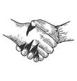 devil handshake engraving vector image