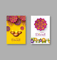 diwali festival holiday posters with paper cut vector image vector image
