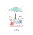 Family under umbrella vector image vector image