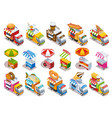 food truck isometric icons set vector image vector image