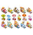 Food truck isometric icons set