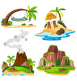 four scenes of island and beach vector image vector image