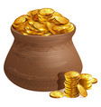 full ceramic pot with gold coins old treasure vector image vector image