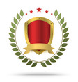 Gold metal shield in green wreath and red stars vector image vector image