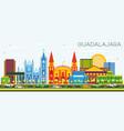 guadalajara mexico skyline with color buildings vector image vector image