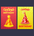 happy birthday greeting card festive cap vector image vector image