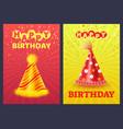 happy birthday greeting card festive cap vector image