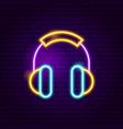 headphones neon sign vector image