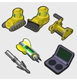 Heavy machinery equipment and startup keys vector image