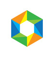 hexagon colored business logo image vector image