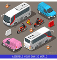 Isometric Flat 3d Vehicle Tourism Set vector image vector image