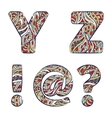 Letters Y Z exclamation mark question mark at vector image vector image