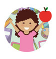 little girl student with apple fruit avatar vector image vector image