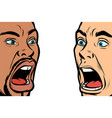 man scream face african and caucasian people vector image