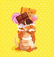 monsterhake with chocolatewafflescandies vector image
