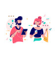 people characters with gadgets vector image
