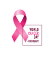 pink cancer ribbon and date international cancer vector image vector image
