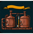 retro brewery engraving copper tanks and barrels vector image