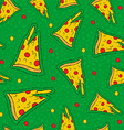Retro hand drawn stitch patch pizza background vector image