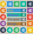 Right-aligned icon sign Set of twenty colored flat vector image