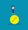running on coins business financial concept vector image vector image