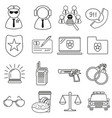 set of icons in line style police vector image vector image