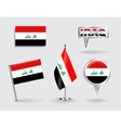 Set of Iraqi pin icon and map pointer flags vector image vector image