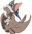 sleepy bat with teddy bear preparing for bed vector image