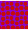 The pattern of red circles on a purple background