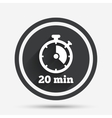 Timer sign icon 20 minutes stopwatch symbol vector image vector image