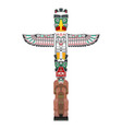 totem icon wooden idol stand with outstretched vector image